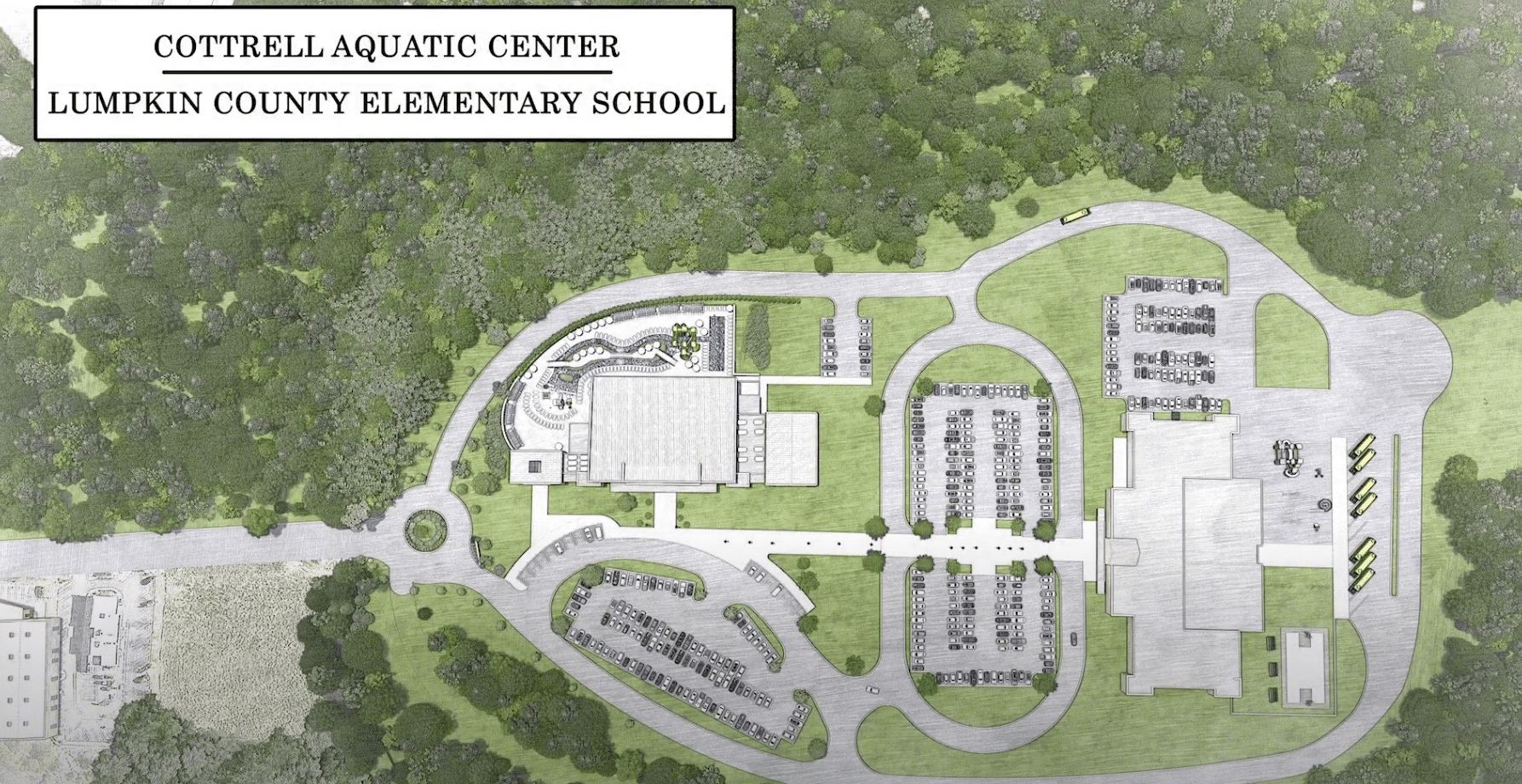 arial view of desired plan for Cottrell Aquatic Center